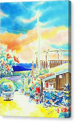 Post Office In The Island Canvas Print by Hisayo Ohta