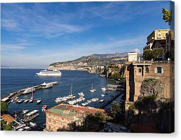 Postcard From Sorrento Italy - The Harbor The Boats And The Famous Clifftop Hotels Canvas Print by Georgia Mizuleva