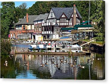 Postcard Perfect Boathouse Row Canvas Print by Frozen in Time Fine Art Photography