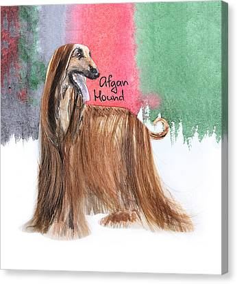 Watercolor Postcard Dogs Afgan Hound Canvas Print
