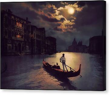 Canvas Print featuring the painting Postcards From Venice - The Red Gondola by Douglas MooreZart