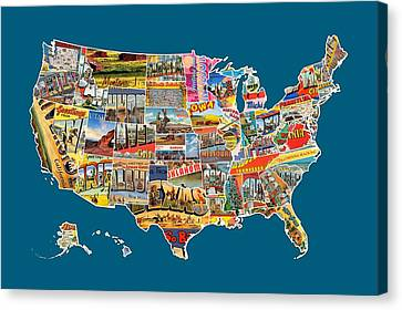 Postcards Of The United States Vintage Usa All 50 States Map Canvas Print by Design Turnpike