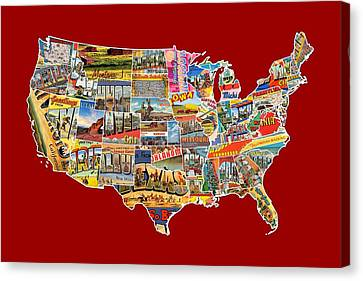 Postcards Of The United States Vintage Usa Lower 48 Map Choose Your Own Background Canvas Print by Design Turnpike