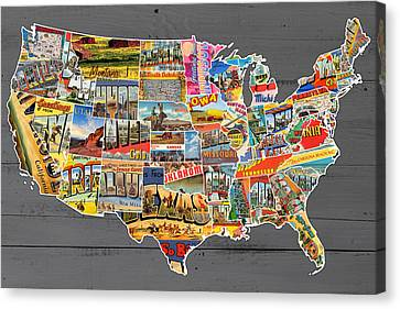 Postcards Of The United States Vintage Usa Lower 48 Map On Gray Wood Background Canvas Print by Design Turnpike