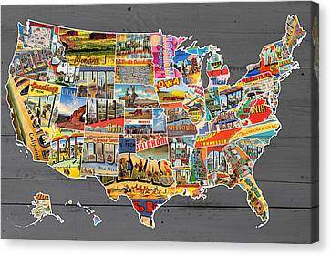 Postcards Of The United States Vintage Usa Map On Gray Wood Background Canvas Print by Design Turnpike