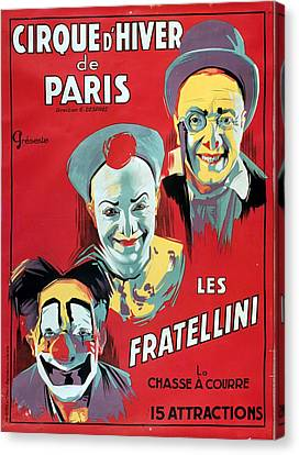 Trio Canvas Print - Poster Advertising The Fratellini Clowns by French School