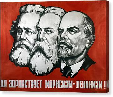 Poster Depicting Karl Marx Friedrich Engels And Lenin Canvas Print