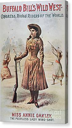 Poster For Buffalo Bill's Wild West Show With Annie Oakley Canvas Print by American School