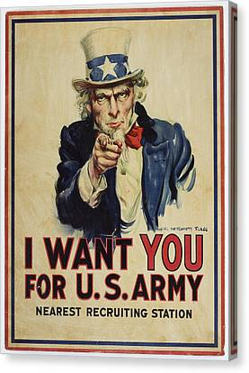 Poster, I Want You, April 1917, United States, By James Montgomery Flagg, United States Government Canvas Print