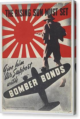 Poster The Rising Sun Must Set 1942 Wellington By New Zealand National Savings Committee. Canvas Print by Celestial Images