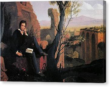 Posthumous Portrait Of Shelley Writing Prometheus Canvas Print by MotionAge Designs