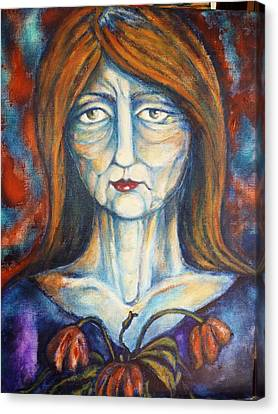 Canvas Print featuring the painting Postmenopausal by Rae Chichilnitsky