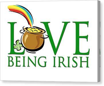 Pot Of Gold Love Being Irish Canvas Print by Greg Slocum