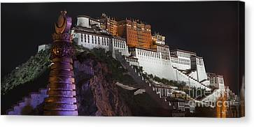 Tibetan Canvas Print - Potala Palace At Night. Historic by Phil Borges