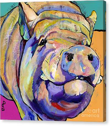 Swine Canvas Print - Potbelly by Pat Saunders-White