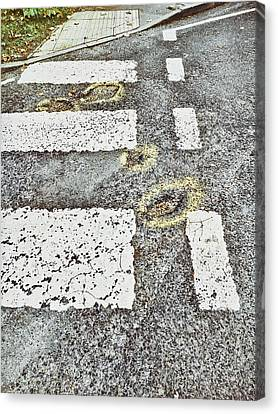 Potholes In A Road Canvas Print by Tom Gowanlock