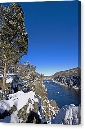 Potomac River At Great Falls National Park During Winter Canvas Print by Brendan Reals