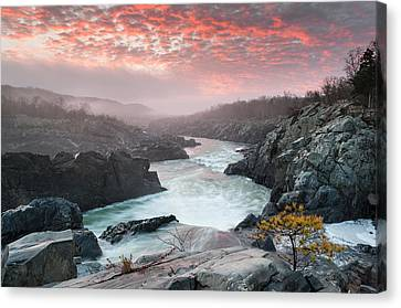 Potomac River At Great Falls Sunrise Landscape Canvas Print by Mark VanDyke
