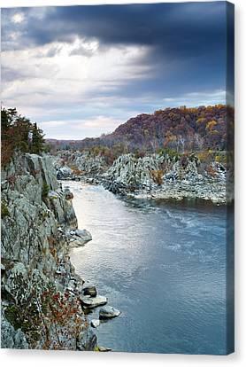 Great Falls Park Canvas Print - Potomac River From Great Falls Park Virginia by Brendan Reals