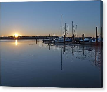 Potomac River Sunrise At Belle Haven Marina Virginia Canvas Print by Brendan Reals