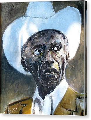 Potrait Of Drummer Art Blakey Canvas Print by Udi Peled
