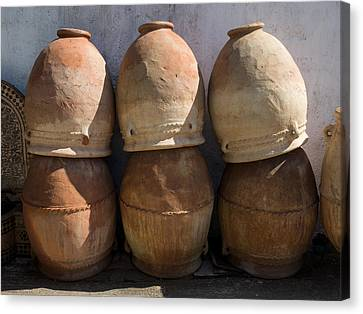 Pots For Sale At Pottery, Fes, Morocco Canvas Print by Panoramic Images