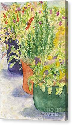 Canvas Print featuring the painting Potted Beauties  by Vicki  Housel