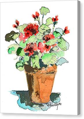 Potted Geraniums Canvas Print by Arline Wagner