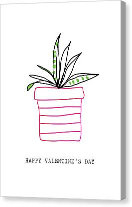 Succulent Canvas Print - Potted Plant Valentine- Art By Linda Woods by Linda Woods
