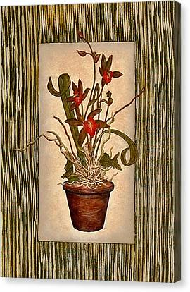 Canvas Print featuring the painting Potted Tiger Orchid - Original by Terry Mulligan