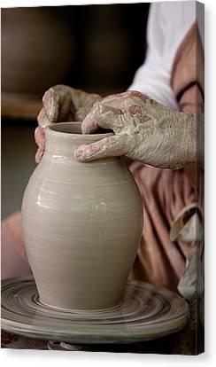 Potters Hands Canvas Print by Walt Stoneburner