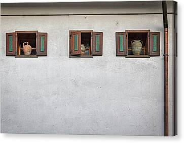 Canvas Print featuring the photograph Pottery In The Windows - Slovenia by Stuart Litoff