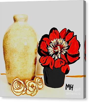 Canvas Print featuring the painting Pottery Peony Roses by Marsha Heiken