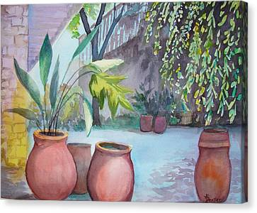 Canvas Print featuring the painting Pottery Place by AnnE Dentler