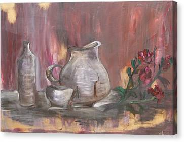 Canvas Print featuring the painting Pottery by Sladjana Lazarevic