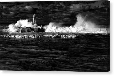 Canvas Print featuring the photograph Pounding The Breakwater by Nareeta Martin