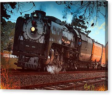 Pounding Up The Texas Grade Canvas Print by J Griff Griffin