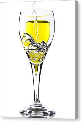 Glass Table Reflection Canvas Print - Pour Me One by Donald Schwartz