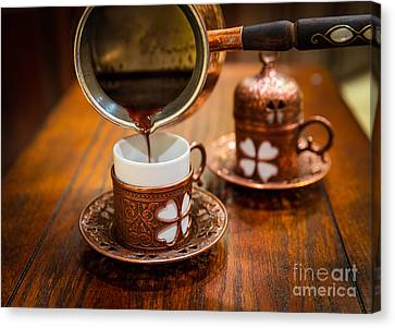 Poured Turkish Coffee Canvas Print by Inge Johnsson