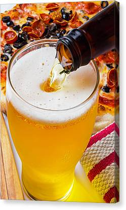 Glass Bottle Canvas Print - Pouring Beer by Garry Gay