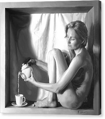 Pouring Tea Canvas Print by E Gibbons