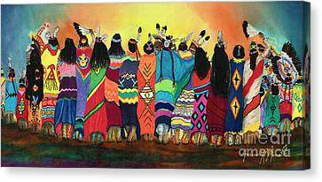 Pow Wow Blanket Dancers Canvas Print by Anderson R Moore