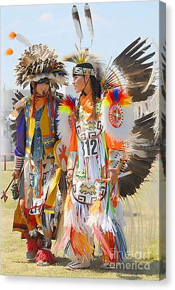 Canvas Print featuring the photograph Pow Wow Contestants - Grand Prairie Tx by Dyle   Warren