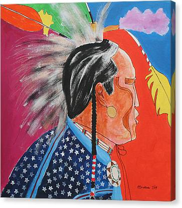 Canvas Print featuring the painting Pow Wow by Mordecai Colodner