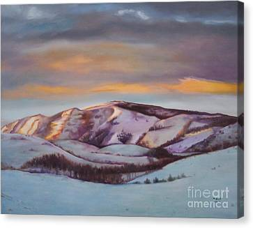Canvas Print featuring the painting Powder Mountain by Marlene Book