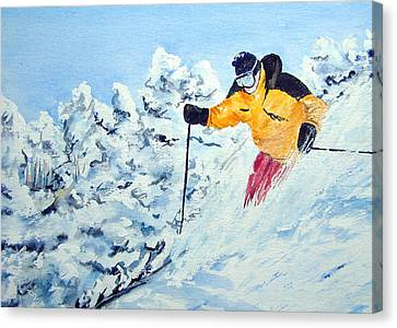 Powder Run Canvas Print by Wilfred McOstrich