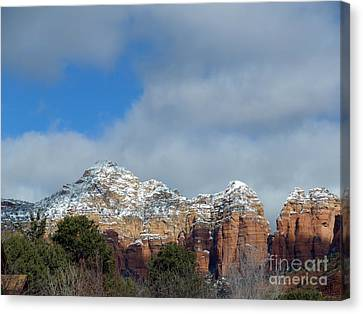 Powdered Sugar Sedona Red Rocks Canvas Print by Marlene Rose Besso