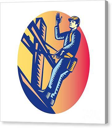 Power Lineman Electric Post Waving Oval Woodcut Canvas Print by Aloysius Patrimonio