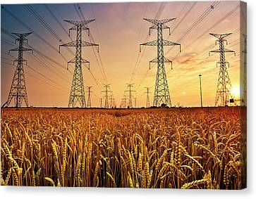 Power Lines At Sunset Canvas Print by Yugus