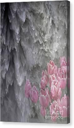 Powerful And Gentle Waterfall Art  Canvas Print by Valerie Garner